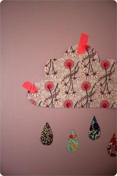 *Wolkjes en regendruppels van behangpapier of stof als muurdecoratie