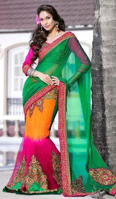G3 Fashions Green Orange Magenta Net Chiffon Embroidered Lehnga Saree  Product Code : G3-LS11822 Price : INR RS 4792