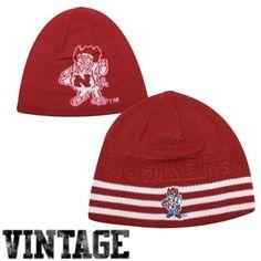 adidas Nebraska Cornhuskers Retro Mascot Reversible Knit Hat - Scarlet/White