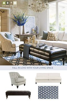Create a living space that exudes sophistication and elegance. Start with statement pieces like a tufted, navy blue, leather ottoman, add an ivory sofa, match it with a traditional accent chair, and top the look with gold and geometric accessories. Find the best furniture and decor for your home at Living Spaces.