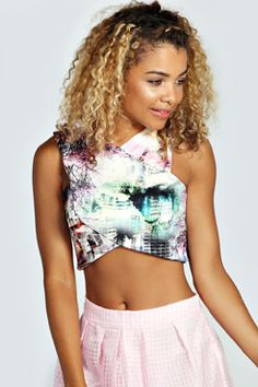 ffdbee85f195c Beth Printed V Neck Scuba Crop Top at boohoo.com Evening Tops