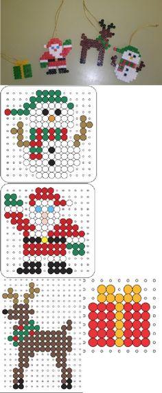 Kids Craft - Perler Hama Fuse beads - Christmas Holiday ornaments: