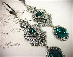 Emerald Green Renaissance Jewel Earrings, Clover, Royal Queen, SCA, Tudor Medieval Chandelier Earrings in Your Choice of Color & Finish on Etsy, $26.00