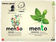 menSo X menTo #migo #vortaro #gramatiko #esperanto #cerbo #menso #mento #herbo Esperanto Language, New World Order, Projects To Try, Writing, Learning, Language, Languages, Studying, Teaching