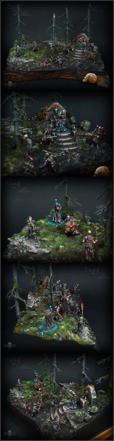 """Dead or Alive"" Adventure Diorama. Made with real sticks for the trees, cork for the wood-like base, bark for rocks, with Red Box Games for adventurers and main bad guy and Mantic Games skeletons. An amazing work of art."
