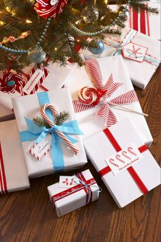 Simplify gift-wrapping with a single roll of white paper. It's elegant, economical and easy to customize with tree cuttings, ribbon and drug store candy. What you'll need: white wrapping paper ($10, amazon.com)
