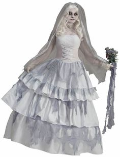 Or, you can dress as the Haunted Mansion Bride in the Attic with this Victorian Ghost Bride costume.  But don't be surprised if the men steer clear of you...
