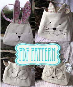 Conejo, gato, panda, buho, conejo, patrón, bolsa de descarga inmediata, DIY regalo bolso de costura. Patrón de costura animal - bolsa de hacer su propia Pascua