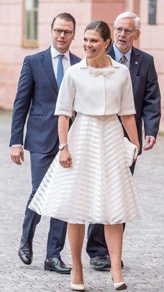 Crown Princess Victoria and Prince Daniel outside Uppsala Castle.