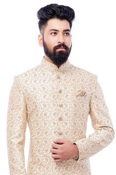 White Zari Embroidered Raw silk Wedding Sherwani-SH523 Groom Outfit, Groom Dress, Men Dress, Pakistani Kurta Designs, Indian Groom Wear, Wedding Sherwani, Indian Wedding Outfits, Wedding Suits, Wedding Designs