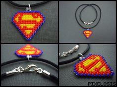 Handmade Seed Bead Superman Logo Necklace by Pixelosis.deviantart.com on @deviantART