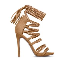 ShoeDazzle Sandals-Dressy - Single Sole Raenetta Womens Beige ❤ liked on Polyvore featuring shoes, sandals, beige, sandals-dressy - single sole, chain sandals, tassel shoes, dressy shoes, fancy sandals and lace-up sandals