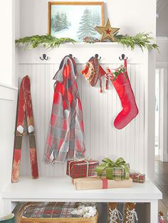 A felt stocking hits a festive note in the entryway of this Washington home.