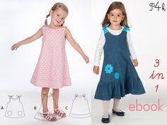 Kleid / Tunika Steffi für Mädchen. Schnittmuster / E-Book mit Fotoanleitung in 3 Modellvarianten. PDF download Schnitt und Nähanleitung von pattern4kids auf Etsy