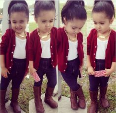 1220403ae Red & Gold Kid Outfits, Kids Outfits Girls, Cute Outfits For Kids, Little