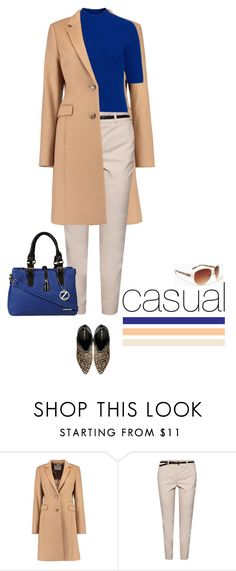 """""""Casual outfit: Royal Blue - Camel - Beige"""" by downtownblues ❤ liked on Polyvore featuring MANGO"""