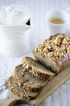 WHOLEWHEAT BANANA BREAD  Ingredients: 3 medium and very ripe bananas 120 g butter at room temperature 100 g honey 100 g brown sugar 2 eggs 1/2 tsp cinnamon 1/2 cup rolled oats 3/4 cup wholewheat flour 1/2 cup flour 1 tsp baking powder pinch of salt 100 g walnuts