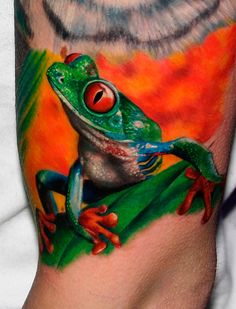 Tropical Rain Forest Frog Tattoo Inked With Radiant Colors Tattoo Inks