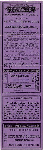 Minneapolis Soo Line Railway ticket circa 1888