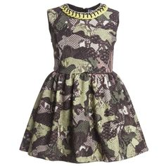 <div> <div>MSGM girls dress in a cool1950's style with a fitted bodice and pretty flared skirt and an all over green camouflage patchwork python print. The dress ismade from a thick silky soft and stretchy fabric,is fully lined for comfort and has a neon yellow plastic chain detail around the collar.</div> <div> <ul> <li>95% polyester, 5% elastane</li> <li>Fully lined</li> <li>Machine wash (30*C)</li> <li>Made in Italy</li> </ul> </div> </div>