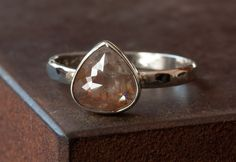 Red Diamond Ring in 14kt White Gold- engagement, rose cut, wedding, teardrop, band. $895.00, via Etsy.