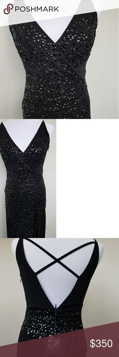 """ROBERTO CAVALLI SEQUIN BLACK GOWN Roberto Cavalli """"Class"""" jersey gown with sequin accents. Gorgeous shape with asymmetrical sequin detailing. Long front side slit. Crisscross detail on back. Side zipper. Euro Sz. 38. US Sz. 2 Purchased in Italy. Never worn. Tags. Class Roberto Cavalli Dresses"""