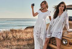 TWINSET Simona Barbieri, 2017 Summer collection with #EmilyRatajkowski and #SashaPivovarova: embroidered dress, T-shirt and embroidered tunic.