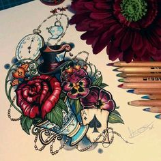 It's dark and stormy in wonderland today. Finished neo traditional tattoo design for client based on Alice in Wonderland. If I ever do get an Alice in Wonderland tattoo, I'll have her design it. Theme Tattoo, Tattoo On, Tatoo Art, Tattoo Drawings, Flower Drawings, Tattoo Sketches, Neue Tattoos, Body Art Tattoos, Sleeve Tattoos
