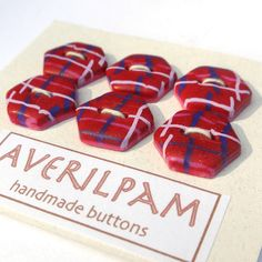 Handmade Buttons Red Navy and White Handmade Polymer Clay, Navy And White, Buttons, Pattern, Red, Pink, Collection, Patterns, Hot Pink