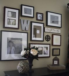 displaying family photos with wall monogram | Decor You Adore: Making an Adorable Gallery Wall!