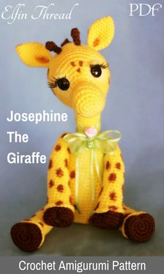 Josephine the Giraffe is a sweet crocheted amigurumi doll that would love to help you keep your trees in shape. You can create your own Josephine the Giraffe with this downloadable pattern. #crochet #amigurumi #crochetdoll #ad #amigurumidoll #amigurumipattern #giraffe #instantdownload