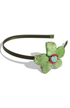 Tasha 'Rockin' Flower Headband in dark green (the yellow is nice too!) from Nordstrom $32