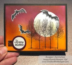 Stampin' Up! Spooky Sweets Swap Card shared by Dawn Thomas (Jan Carlson). To see more Halloween cards, click through to my blog #CrackedPotStamper #stampinup #LoveItLiveItShareIt #SpookySweet #HalloweenCards Halloween Punch, Halloween Boo, Halloween Cards, Halloween Themes, Diy Thanksgiving Cards, Fall Cards, Halloween Invitations, Butterfly Cards, Creative Cards
