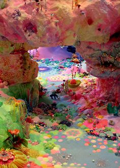 Drawing on children's stories, creation myths, Buddhist cosmologies, video games and folktales, Pip and Pop (Tanya Schultz and Nicole Andrijevic) create large-scale fantasy worlds coloured with a bright, often fluorescent palette, using cake-decorating tools, intricate layers of sugar, glitter, modelling clay and mirrors. (via QAGOMA)