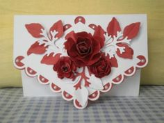 Red fancy card: Here are three of my latest cards.  The pink lattice card was made for a very dear couple of friends who are celebrating there 60th wedding anniversary