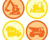 Personalized construction vehicles printable for construction hats, birthday party favors, temporary tattoos, cupcake toppers
