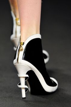 Angelo Marani Fall 2013 Black and White Zipper Booties.High Heels with Details.