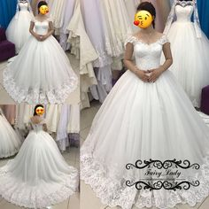 2018 White 3D-Floral Appliques Lace Wedding Dresses With Capped Sleeves Ball Gown Vestido De Noiva Plus Size Women Long Bridal Dress Gowns