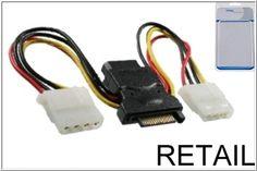 DINIC S-ATA Stromadapter auf 3 x 5,25 Buchse 1x SATA Stecker auf 3x 5,25 Buchse - Länge 2x 12cm