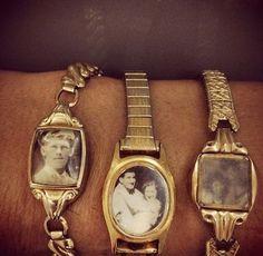 Upcycle vintage watches with photos, really love this idea. Kei leuk idee van oude horloges Kringloopwinkel Here I come xxx Locket Bracelet, Diy Schmuck, Bijoux Diy, Upcycled Vintage, Repurposed, Diy Crafts Vintage, Vintage Watches, Antique Watches, Diy Fashion