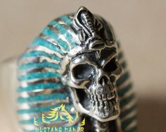 925 Sterling Silver Ring Gemini Skull by BroncoManor on Etsy