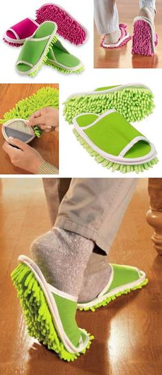 Microfibre slippers that dust, sweep and polish as you walk! Genius!