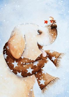an melis illustrator Illustration Inspiration, Illustration Noel, Winter Illustration, Christmas Illustration, Illustrations, Christmas Animals, Christmas Dog, Christmas Pictures, Christmas Ornaments