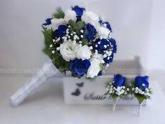 Blue and white wedding bouquet. Wedding bouquet in blue and white … - Wedding Decorations Prom Flowers, Blue Wedding Flowers, White Wedding Bouquets, Bride Bouquets, Bridal Flowers, Bridesmaid Bouquet, Wedding White, Bouquet Wedding, Unique Wedding Colors