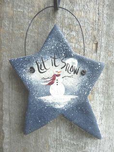 Salt Dough Star Ornament Snowman Xmas by cookiedoughcreations