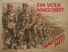 """German WWII poster """"Ein Volk Marschiert. Marschiere Mit!"""" (One People marches. March with [us])"""