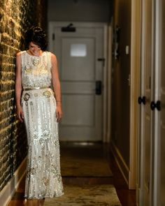 This bride rocked a Jenny Packham wedding dress that was full of sparkle