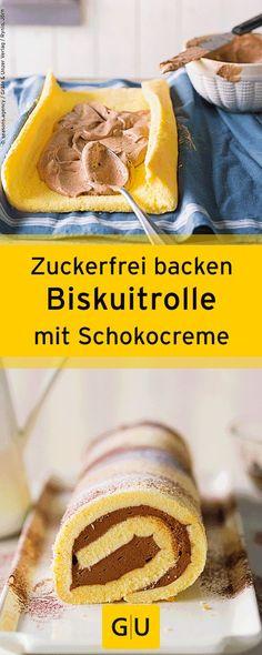 """Zuckerfrei backen: Leckeres Rezept für Biskuitrolle mit Schokocreme aus dem Buch """"Backen mit Stevia"""".⎜GU"""