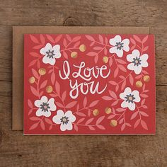 I Love You Illustrated Card by 1canoe2 on Etsy, $4.50
