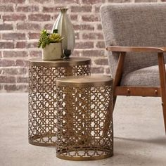 Brass Metal Nesting Accent Table Set at Big Lots. Find Furniture, Accent Furniture, Bedroom Furniture, Drum Table, My Living Room, Accent Chairs, Accent Tables, Metal Accent Table, Table Settings